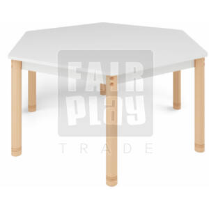 Neo színes hatszögletű asztal állítható lábakkal - fehér
